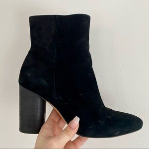 Sam Edelman Black Suede Ankle Boots Stacked Heel